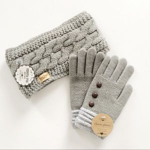 Cozy Glove and Head Band Set - Gray
